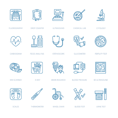 Vector thin line icon of medical equipment, research. Medical check-up, test elements - MRI, x-ray, glucometer, ultrasound, laboratory. Linear pictogram with editable stroke for clinic, hospital.