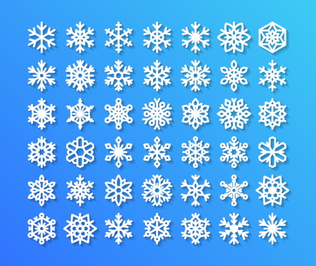 Cute snowflake collection isolated on blue background. Flat snow icons, snow flakes silhouette. Nice snowflakes for christmas banner, cards. New year snowflake. Organic and geometric snowflakes set.