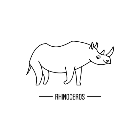 rhino vector: African rhino isolated. Abstract rhino. Isolated rhino. Rhino on white. Rhino side view. Rhino vector icon. Rhinoceros outline illustration. African animal out line sign.