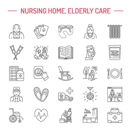 シニア ・介護の現代ベクトル線アイコン。特別養護老人ホームの要素 - 高齢者、車椅子、レジャー、病院の呼び出しボタン、レジャー。線形絵文字