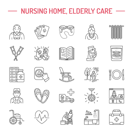 Modern vector line icon of senior and elderly care. Nursing home elements - old people, wheelchair, leisure, hospital call button, leisure. Linear pictograms with editable stroke for sites, brochures.