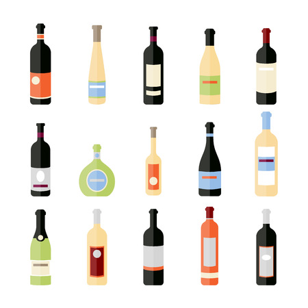 Set of wine bottles in flat. Isolated flat wine bottles. Different kinds of wine bottles. Design elements for banners, wine markets, alcohol advertising, bars and vineyards. Red, white, sparkling wine Illustration
