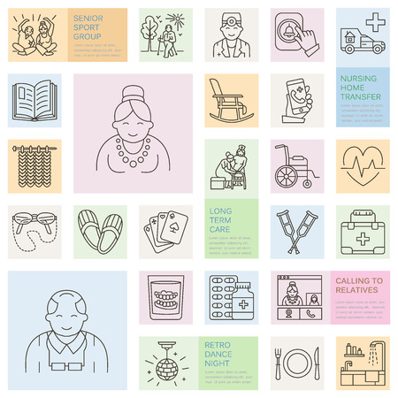 icons: Modern vector line icon of senior and elderly care. Nursing home elements - old people, wheelchair, leisure, hospital call button, leisure. Linear template for sites, brochures. Editable strokes.