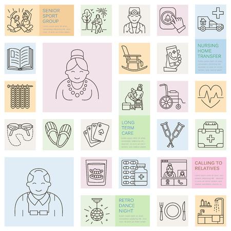 シニア ・介護の現代ベクトル線アイコン。特別養護老人ホームの要素 - 高齢者、車椅子、レジャー、病院の呼び出しボタン、レジャー。サイト、パンフレットの線形のテンプレートです。編集可能なストローク。