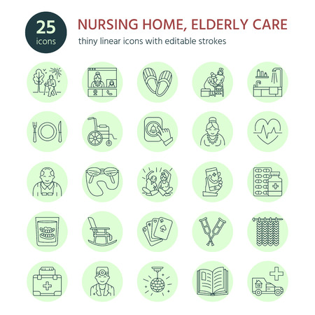 long term care services: Modern vector line icon of senior and elderly care. Nursing home elements - old people, wheelchair, leisure, hospital call button, medicines. Linear pictograms with editable stroke for sites, brochures.