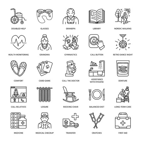 Modern vector line icon of senior and elderly care. Nursing home elements - old people, wheelchair, leisure, hospital call button, medicines. Linear pictograms with editable stroke for sites, brochures.