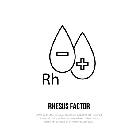 Modern vector line icon of rhesus factor. Blood test linear logo. Outline symbol for laboratory. Medical design element for sites, hospitals. Hematology business logotype, Rh-factor sign.