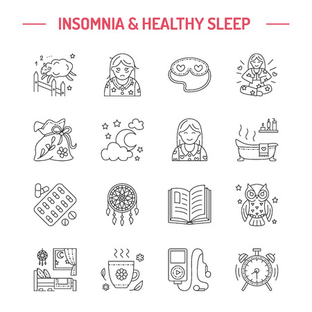 sleeping pills: Modern vector line icon of insomnia problem and healthy sleep. Elements - clock, pillow, pills, dream catcher, counting sheep. Linear pictogram with editable stroke for sites, brochures about insomnia Illustration