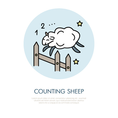 Counting sheep illustration. Modern vector line icon of jumping sheep. Insomnia linear logo. Outline symbol for sleep problem, healthy sleeping. Design element for site, brochure, book. Cute sheep art