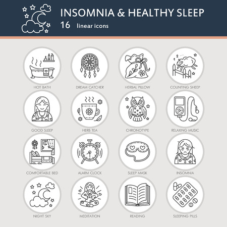 sleeping pills: Modern vector line icon of insomnia problem and healthy sleep. Elements - clock, pillow, pills, dream catcher, counting sheep. Linear pictogram for sites, brochures about insomnia