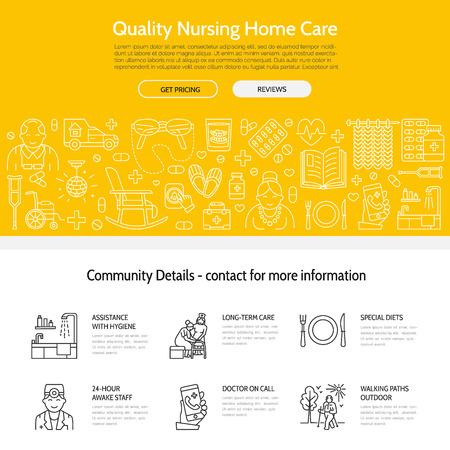 シニア ・介護の現代ベクトル線アイコン。特別養護老人ホームの要素 - 高齢者、車椅子、レジャー、病院の呼び出しボタン、レジャー。サイト、パ