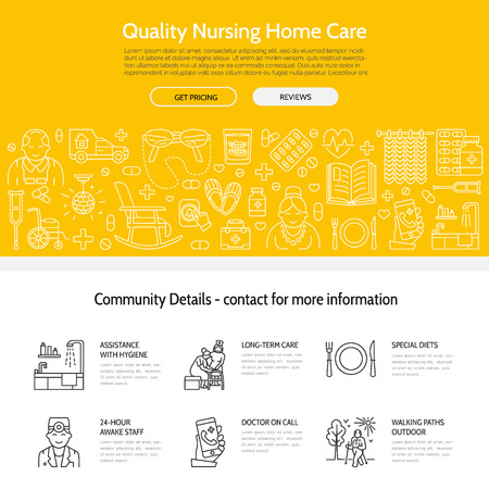 Modern vector line icon of senior and elderly care. Nursing home elements - old people, wheelchair, leisure, hospital call button, leisure. Linear template for sites, brochures. Editable strokes.