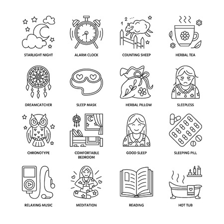 sleeping pills: Modern vector line icon of sleepless and healthy sleep. Elements - clock, pillow, pills, dream catcher, counting sheep. Linear pictogram with editable stroke for sites, brochures about insomnia problem