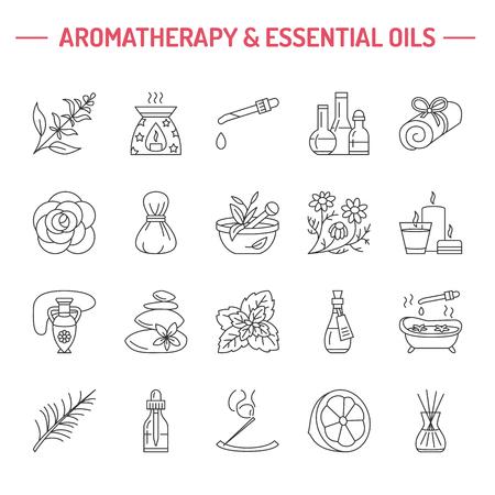 Moderne Vektor Linie Ikonen der Aromatherapie und ätherische Öle. Elements - Aromatherapie-Diffusor, Ölbrenner, Spa Kerzen, Räucherstäbchen. Linear Piktogramm für die Aromatherapie-Salon.