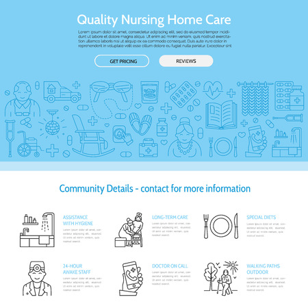 Modern vector line icon of senior and elderly care. Nursing home elements - disabled, medicines, hospital call button, leisure. Linear medical template for sites, brochures, poster. Editable strokes. Stock Illustratie