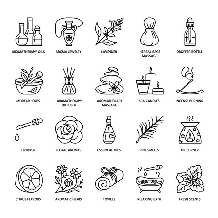 Modern vector line icons of aromatherapy and essential oils. Elements - aromatherapy diffuser, oil burner, spa candles, incense sticks. Linear pictogram with editable strokes for aromatherapy salon.