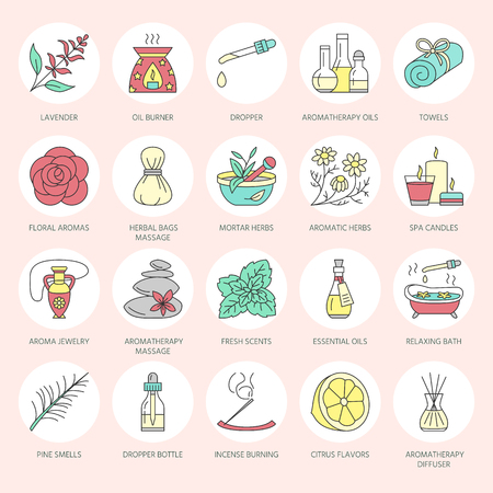 Modern vector line icons of aromatherapy and essential oils. Elements - aromatherapy diffuser, oil burner, spa candles, incense sticks. Linear pictogram for aromatherapy salon.