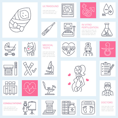 gynecology: Medical vector line icon of pregnancy and obstetrics. Gynecology elements - chair, tests, doctor, sonogram, baby, pregnancy gadgets. Obstetrics design element for sites, hospitals, clinics. Illustration