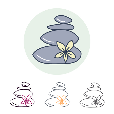 hot stone massage: Modern vector line icon of hot stone massage. Spa salon linear logo. Outline symbol for thai massage. Elements - stones, flower. Illustration
