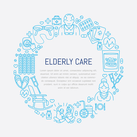 long term care services: Modern vector line icon of senior and elderly care. Medical poster template with illustration  of old people, wheelchair, leisure, hospital call button, leisure. Linear banner