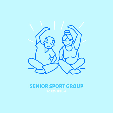 group icon: Modern vector line icon of gymnastics. Senior sport group linear logo. Outline symbol for elderly leisure. Old men fitness design element for sites, clubs. Health care logotype, sport sign. Illustration