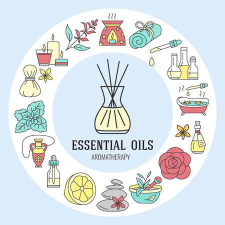 flower bath: Aromatherapy and essential oils circle template. Vector line illustration of aromatherapy diffuser, oil burner, spa candles, incense sticks, herbal bag massage. Essential oils poster Illustration
