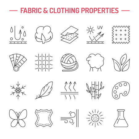 Vector line icons of fabric feature, garments property symbols. Elements - cotton, wool, waterproof, uv protection. Linear wear labels, textile industry pictograms for clothes. Vectores