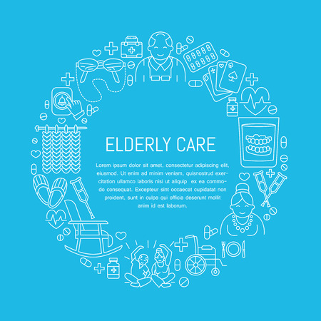 elderly care: Modern vector line icon of senior and elderly care. Medical poster template with illustration  of old people, wheelchair, leisure, hospital call button, activity. Linear banner