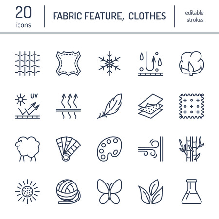 water feature: Vector line icons of fabric feature, garments property symbols. Elements - cotton, wool, waterproof, uv protection. Linear wear labels, textile industry pictograms with editable stroke for clothes.