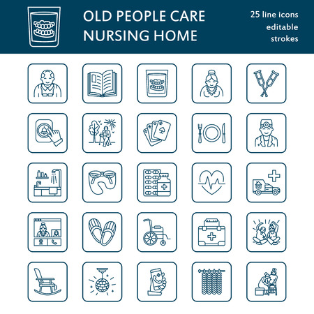 long term care services: Modern vector line icon of senior and elderly care. Nursing home elements - old people, wheelchair, activities, dentures, medicines. Linear pictogram with editable stroke for sites, brochures