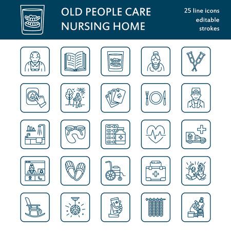 Moderne vector lijn icoon van senior en ouderenzorg. Verpleeghuis elementen - oude mensen, rolstoel, activiteiten, kunstgebitten, medicijnen. Lineaire pictogram met bewerkbare slag voor sites, brochures Vector Illustratie