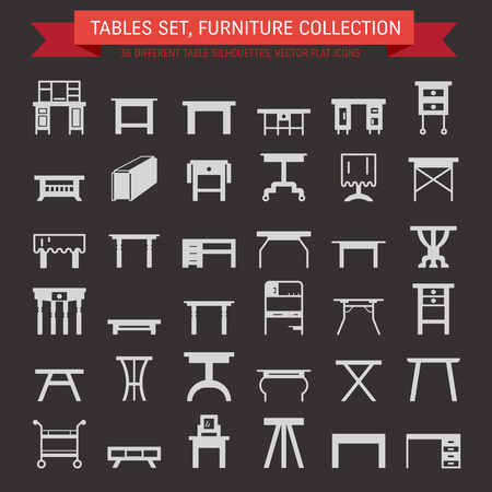 dressing table: Vector furniture flat icons, table symbols. silhouette of different table - dinner, writing, dressing table. Desk pictograms, silhouette for furniture store, platen storage.