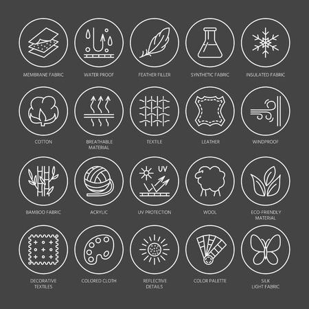 Vector lijn iconen van weefsel functie, kleding eigendom symbolen. Elements - katoen, wol, waterdicht, UV-bescherming. Lineaire dragen labels, textielindustrie pictogrammen met bewerkbare slag voor kleding.