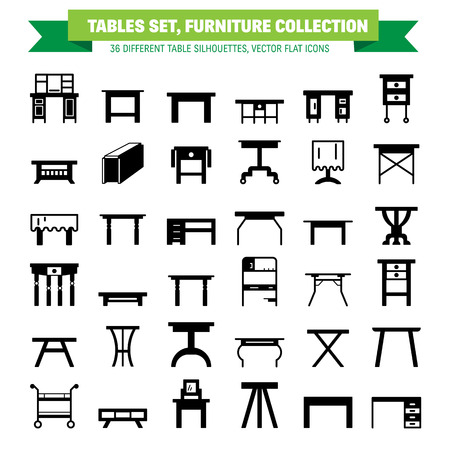 vanity table: Vector furniture flat icons, table symbols. silhouette of different table - dinner, writing, dressing table. Desk pictograms, silhouette for furniture store, platen storage.