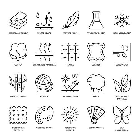 icônes de la ligne de vecteur de caractéristique de tissu, symboles de propriété de vêtements. Elements - coton, laine, protection imperméable à l'eau uv. Linéaire porter des étiquettes, des pictogrammes de l'industrie textile avec course modifiable pour les vêtements. Vecteurs