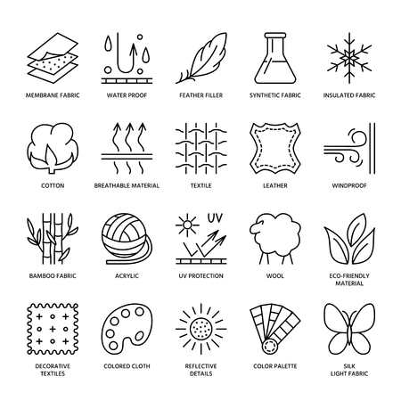 Vector line icons of fabric feature, garments property symbols. Elements - cotton, wool, waterproof, uv protection. Linear wear labels, textile industry pictograms with editable stroke for clothes.