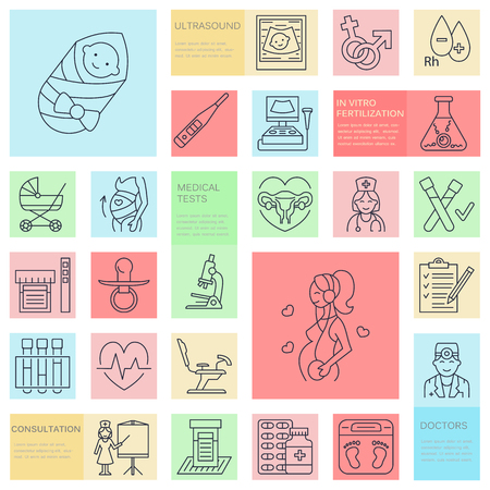 Medical vector line icon of pregnancy and woman health. Elements - gynecology chair, maternity, reproduction, pregnancy check up, happy baby doctor, ultrasound. Pregnancy poster for hospital, clinics