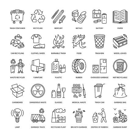 분리 수거, 재활용의 현대 벡터 라인 아이콘입니다. 쓰레기 수집. 재활용 폐기물 - 종이, 유리, 플라스틱, 금속. 포스터 편집 가능한 뇌졸중, 폐기물 관 일러스트