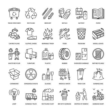 Modern vector line icon of waste sorting, recycling. Garbage collection. Recyclable waste - paper, glass, plastic, metal. Linear pictogram with editable stroke for poster, brochure of waste management