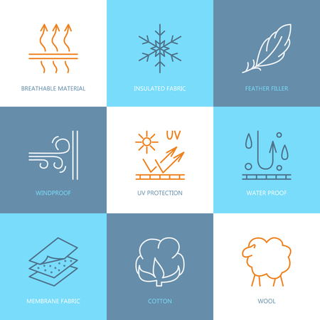 Vector line icons of fabric feature, garments property symbols. Elements - wind proof, wool, waterproof, uv protection. Linear wear labels, textile industry pictogram for clothes. Vectores