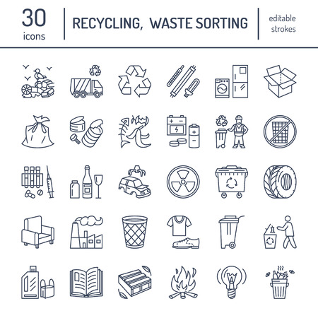 recyclable: Modern vector line icon of waste sorting, recycling. Garbage collection. Recyclable waste - paper, glass, plastic, metal. Linear pictogram with editable stroke for poster, brochure of waste types. Illustration