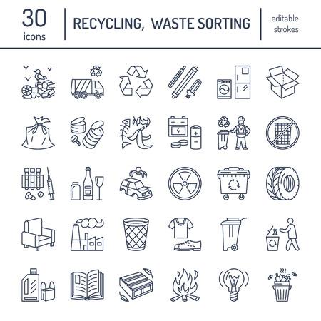reciclable: Moderno icono de la línea vector de clasificación de residuos, el reciclaje. Recolección de basura. Reciclables de residuos - papel, vidrio, plástico, metal. pictograma lineal con accidente cerebrovascular editable para el cartel, folleto de tipos de residuos.