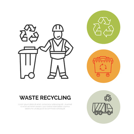 janitor: Modern vector line icon of waste sorting, recycling. Garbage collection. Waste sorter, recycler, janitor. Linear pictogram with editable stroke for poster, brochure of waste management Illustration