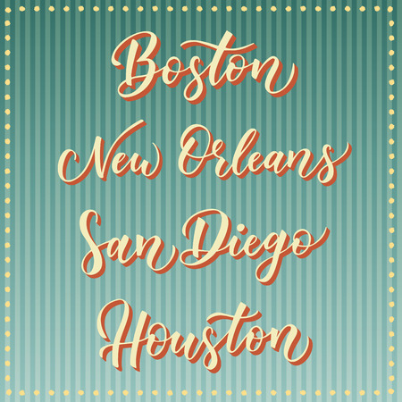 orleans symbol: American city vector lettering. Typography, USA - Boston, New Orleans, San Diego, Houston on retro striped blue background. USA city text. Illustration