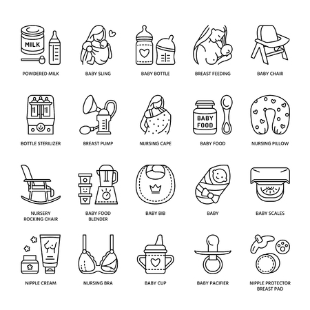 Modern vector line icon of breastfeeding, baby infant food. Breast feeding elements - pump, woman, child, powdered milk, bottle sterilizer, baby. Infant food pictogram