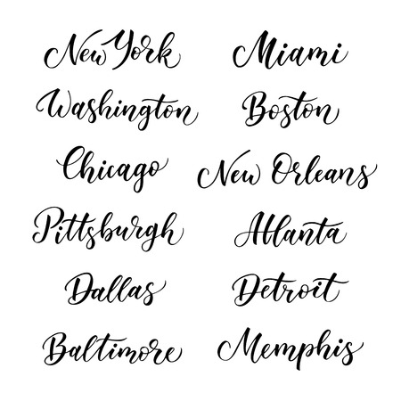 baltimore: American city vector lettering. Typography, USA - New York, Miami, Boston, Dallas, Washington, Atlanta, Chicago, Detroit, New Orleans, Pittsburgh, Memphis, Baltimore on white background