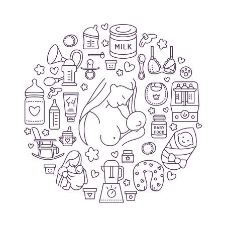 母乳ポスター テンプレート。授乳、離乳食のベクトル線図。保育要素: 胸のポンプ、母乳、粉ミルク、ボトルの殺菌、赤ちゃん。マタニティのバナ