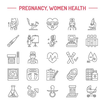 妊娠、不妊治療、産科の現代ベクトル線アイコン。婦人科の要素 - 椅子、医師、超音波、赤ちゃん、妊娠中の女性をチェックしてください。サイト