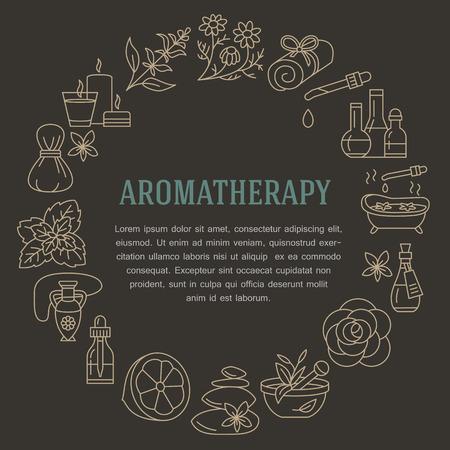 Aromatherapie en essentiële oliën brochure sjabloon. Vector lijn illustratie van de aromatherapie diffuser, oliebrander, spa kaarsen, wierook, kruiden zak massage. Aromatherapie poster, kuuroordsalon Stockfoto - 66482577