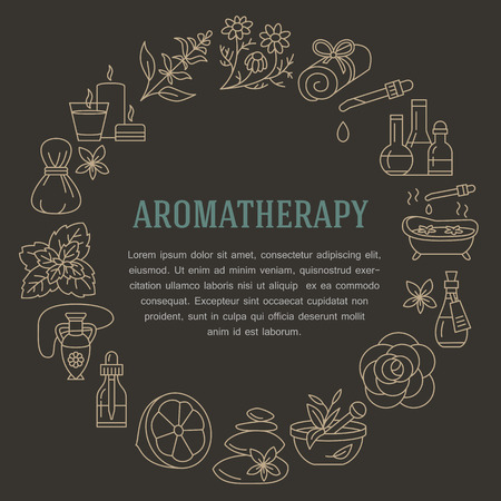 Aromatherapy and essential oils brochure template. Vector line illustration of aromatherapy diffuser, oil burner, spa candles, incense sticks, herbal bag massage. Aromatherapy poster, spa salon Illusztráció